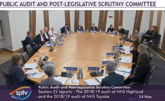 Photograph of NHS Highland and NHS Tayside At Public Audit committee