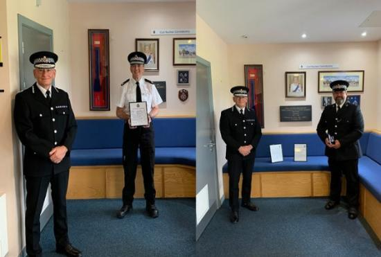 Photograph of Two Dounreay officers recognised and rewarded by Chief Constable