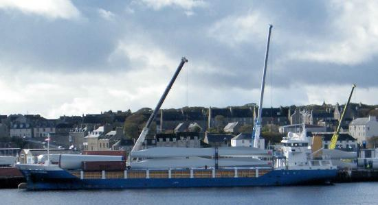 Photograph of Turbines Move From Wick Harbour To Camster Wind Farm