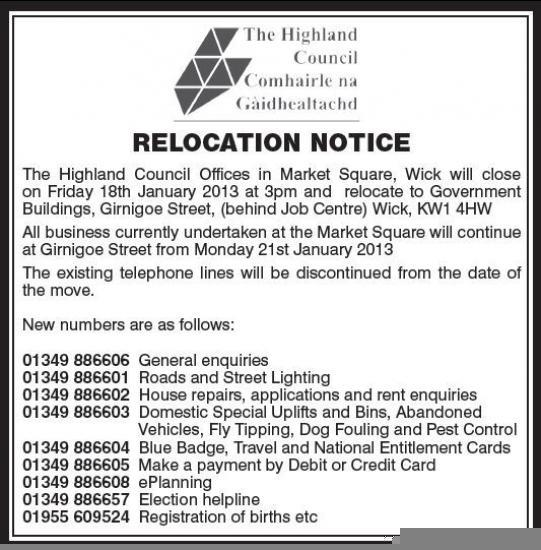Photograph of New Wick Council Telephone Numbers From Monday 21st January