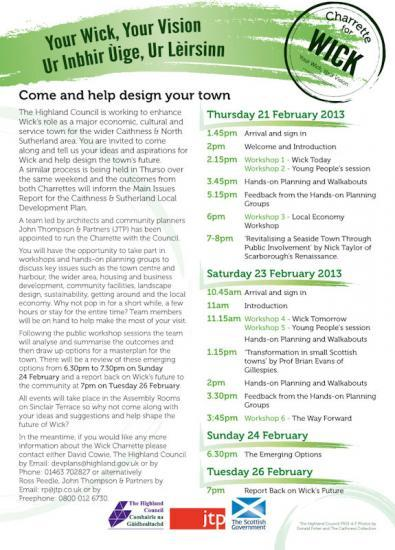 Photograph of Wick Charrette Leaflet Programme