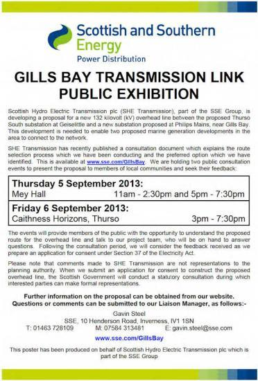 Photograph of Gills Bay Transmission For Marine Generation - Public Exhibition