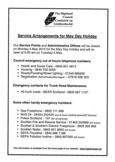 Photograph of Highland Council - Offices Closed on Monday 4th May