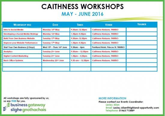 Photograph of Business Gateway Courses Coming To Caithness