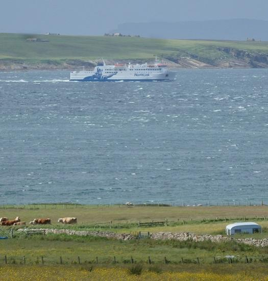 Photograph of Ferry Hamnavoe sails on the 'Short-sea Route' to Orkney during summer months ... for the first time in living memory