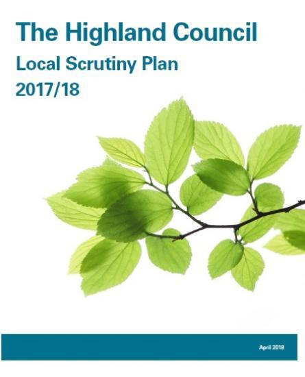 Photograph of Highland Council Local Scrutiny Plan From Audit Scotland