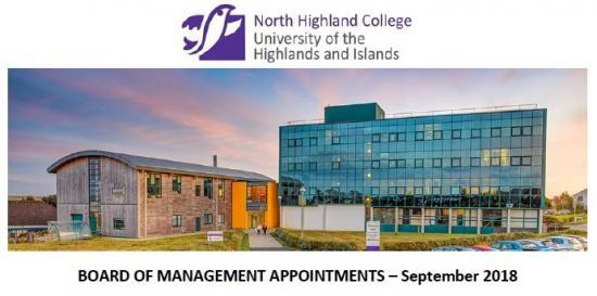 Photograph of North Highland College UHI - Board Of Management Appointments