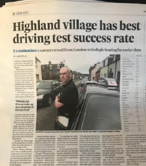 Photograph of Most Successful Driving Instructor Comes To Caithness